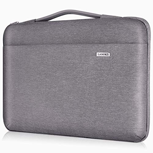 Landici Laptop Case Sleeve 14-15.6 Inch with handle, 360° Protective Computer Bag Compatible with 16' MacBook Pro 2020/15' Surface Book 3 2, Waterproof Acer Hp Chromebook Cover-Khaki Gray