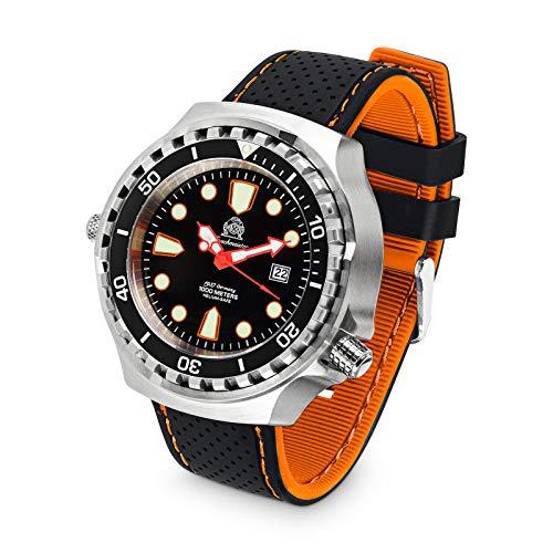 Tauchmeister Reloj de buceo profesional XXL T0300SE 100 ATM correa de silicona 52 mm
