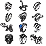 FIBO STEEL 12 Pcs Vintage Punk Rings Octopus Dragon Snake Ring for Men Women Adjustable Cool Gothic Ring Set Jewelry