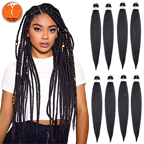 "26"" 8 Packs Braiding Hair Pre Stretched Hair for Braiding Professional Kanekalon Synthetic Hair Hot Water Setting Yaki Texture Premium Fiber Crochet Synthetic Braiding Hair"