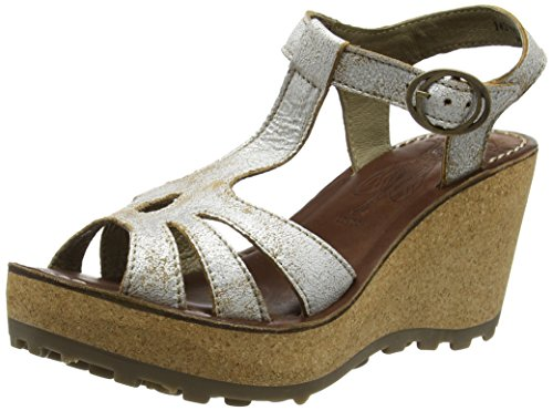 Fly London Gold, Heels Sandals para Mujer