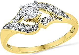 10k Yellow Gold Diamond Fashion Band OR Engagement Ring Prong Set Solitaire Shaped Ring (1/6 cttw.)