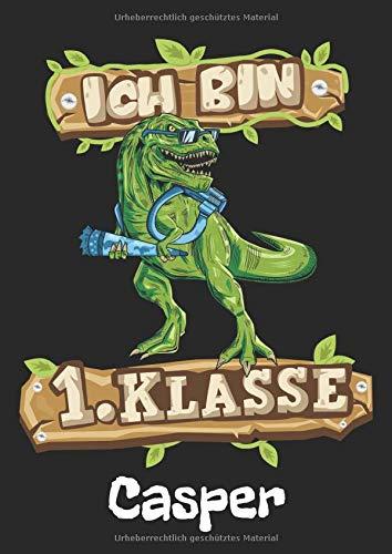 Ich bin 1. Klasse - Casper: T-Rex Dinosaurier Namen personalisiertes Schreiblernheft. Schreib Heft zum Buchstaben schreiben lernen 1. Klasse ... Schulsachen & Einschulung Geschenk Jungen.
