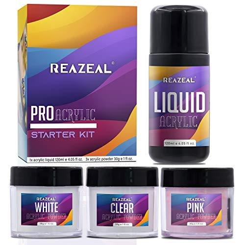 Acrylic Powder and Monomer Liquid, Acrylic Liquid and Acrylic Powder, Clear & Pink & White Powder, White Nail Tray, Reazeal