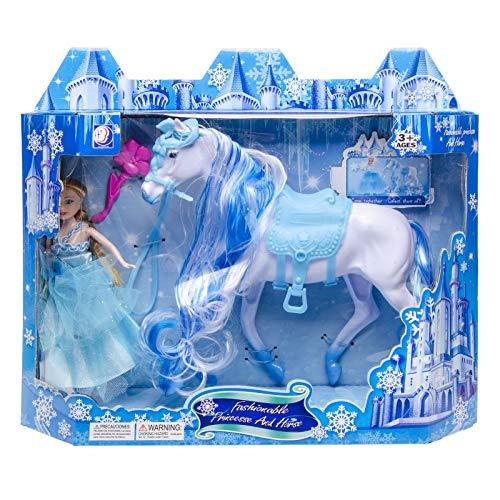 Prinzessin und Spielzeug Pferd 18 cm zum Stylen Sattel Zaumzeug Weiß Spielzeugfigur Puppe Princess Pony Kunststoff Pferd Mähne zum Kämmen Kämmpferd Reitpferd Spielset Anziehpuppe Modepuppe Zubehör Set