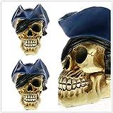 HSXQQL Pirate Skull Prop Skull Head Tricorn Hat Swashbuckler Statue Realistic Pirate Salor Skull Model Halloween Decor,as Shown