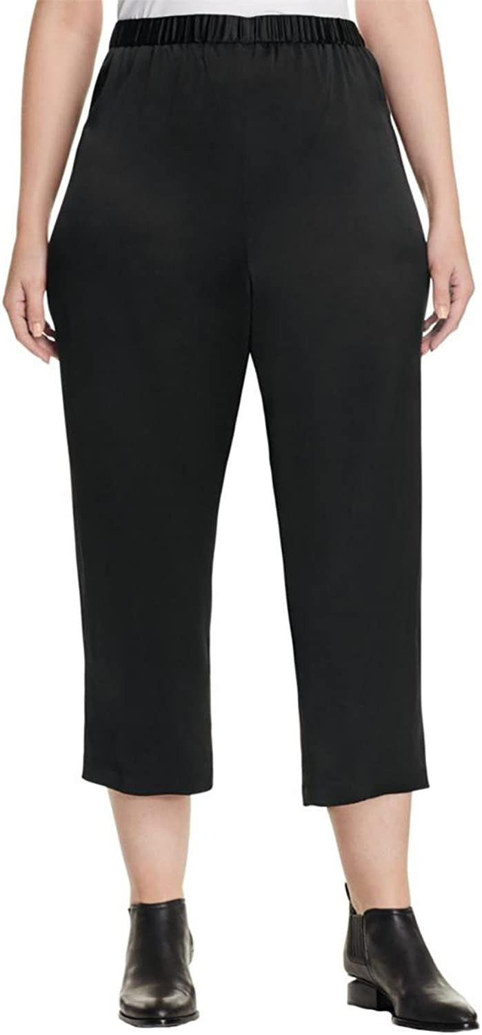 Eileen Fisher Womens Plus Cropped Silk Cropped Pants Black 1X