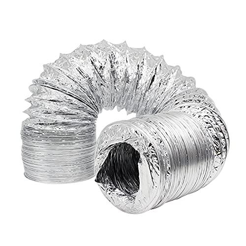 PEIHAN Tubo di sfiato dell'essiccatore per condotti in Foglio di Alluminio, Nastro in Lamina e 2 Morsetti Inclusi. Ottimo per Cucina, Bagno, Tende da Coltivazione, asciugatrici, Ventilazione HVAC