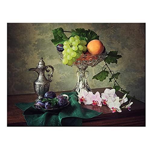 Wsxyhn Carteles E Impresiones De Lienzo para Dormitorio, Fruta Y Vino En La Mesa, Póster para Decoración del Hogar, Pintura para Decoración De Habitación, 50X70Cm Sin Marco