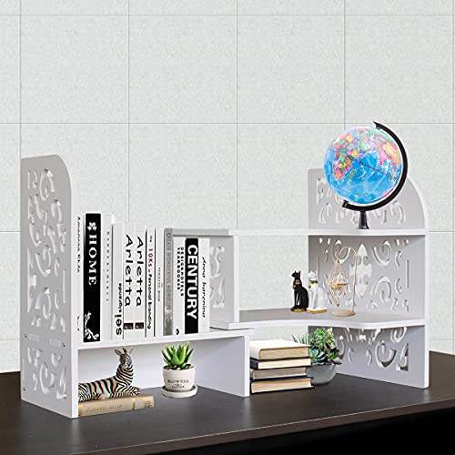 YGYQZ Desktop Bookshelf Organizer Adjustable Storage - Office Supplies Desk Display Cute Dresser Top Accessories Organization Rack and Home Cubicle Decor Aesthetic Bookcases for Women Man and Kids