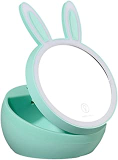Small Fresh Rabbit Makeup Mirror Telescopic Folding LED Makeup Mirror Storage Box Vanity Mirror for Home Makeup, Finishing Appearance Mirror Size 14.5 * 13.5CM