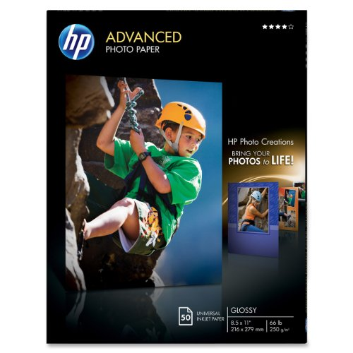 HP Glossy Photo Paper for Inkjet, 8.5 x 11 Inches, 50 Sheets
