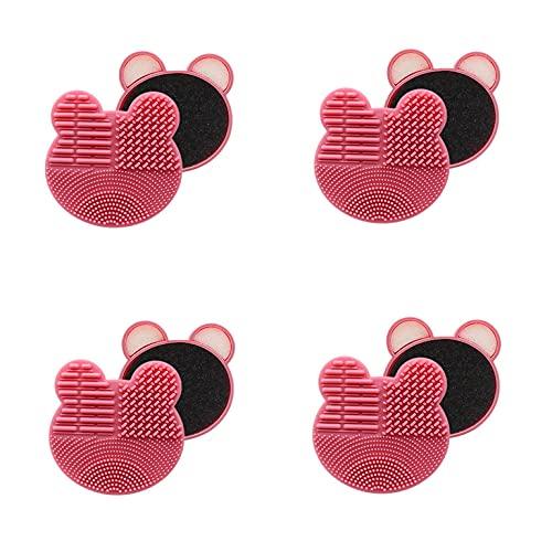 KJDSE Limpiador de pinceles de silicona, 4 unidades, 3 en 1, para cambio rápido de color (rosa)