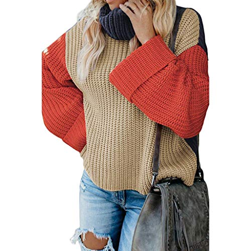 JHDDP3 Moda de Punto de Manga Larga de Manga Alta, suéter de Punto de Color Suelto de Color Jersey cálido for otoño e Invierno (Color : Brown, Size : Medium)