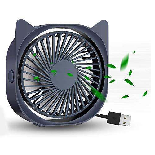 Oaimmk Ventilador de Escritorio USB, Ventilador Personal de Mesa de Escritorio pequeño con 3 velocidades, Aire de enfriamiento silencioso Ideal para Viajes en Coche