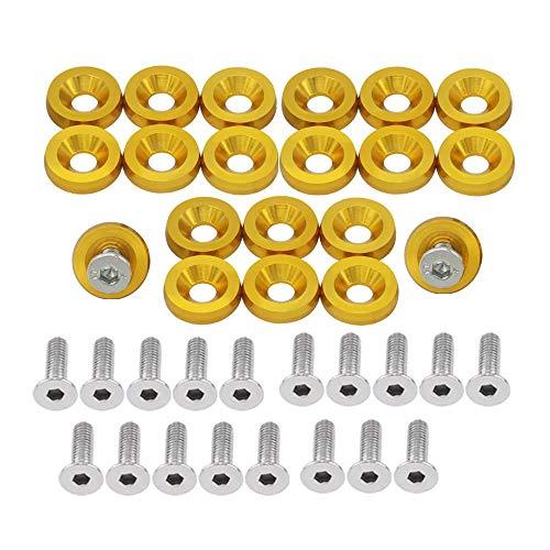 OUHL 20PCS Aluminum Bumper Fender Washer M6 T6 Grade CNC Billet Engine Bay Dress Up Kit (Gold)