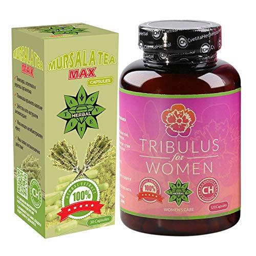 Cvetita Kruiden, Tribulus voor vrouwen 120 capsules + Mursala thee 30 capsules, Tribulus Terrestris gecombineerd met Maca wortel en Siberische Ginseng, juiste werking van het hormonale systeem