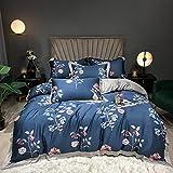 Exlcellexngce Ropa De Cama 135x190 3 Piezas,Luxus Lila 100S Tencel Seide Blumen Druck Super Weiche Atmungsaktive Bettwäsche Set Doppel Bettbezug-Set Bett Blatt Kissen-4_1,8 m de Cama (4pcs)