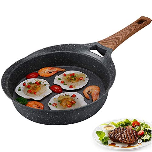 Topf Wok Pfanne Antihaft-Spiegeleier Pfannkuchen gebratenes Steak Kochtopf BBQ Picknick bequem zu reinigen Wok Induktion Aluminium mit Glasdeckel Holzgriff grau 26cm