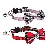DAIXI DAIXIKatzenhalsband, Ausreißer mit niedlicher Fliege und Glocke für Kätzchen und einige Welpen, einstellbar von 7.8-10.5 Zoll (Rosa + Rot)