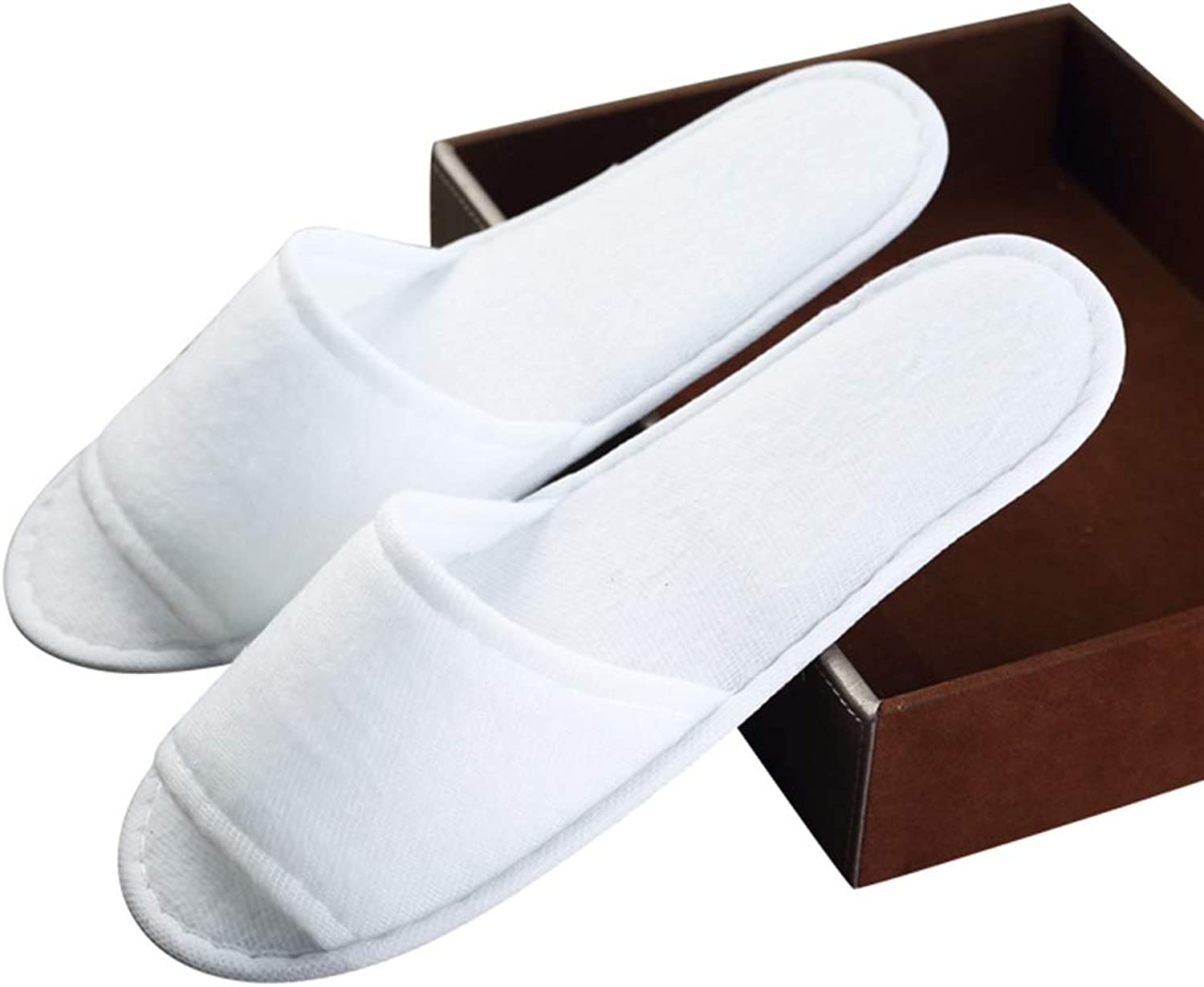 Pairs Lot Disposable Guest Slippers Travel Hotel Slippers SPA Slipper shoes Comfortable White Featured Cotton Terry Slippers Individually Packed for Men and Women 24 50 100 Pack (Edition   24 Pairs)