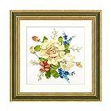 Kit de bordado de cinta de flores de peonía multicuadro de satén, juego de pintura artesanal hecho a mano, costura, decoración de pared, 7 patrones without circle 6