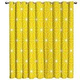 FamilyDecor Cortinas opacas para ventana, diseño geométrico, moderno, amarillo, tratamiento para ventana, oscurecimiento, para sala de estar, cocina, baño, ventanas, cortinas de 132 x 61 cm
