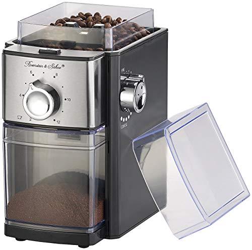 Rosenstein & Söhne Kaffee-Mühlen: Elektrische Kaffeemühle, Scheibenmahlwerk, für 250 g Bohnen, 150 Watt (Espressomühle elektrisch)