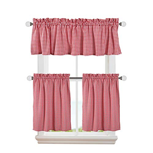 Softopia Cotton 3 Pieces Window Curtain Tiers and Valance Set Cotton, Half Short Window Curtains 2 Tiers & 1 Valance Farmhouse Vintage Curtains for Kitchen Bathroom Living Room- Red