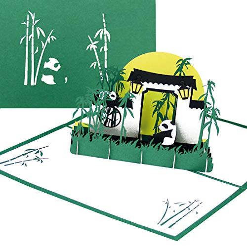 """Panda Bären & Bambus"" - 3D Pop Up Karte mit Pandas als Geburtstagskarte, Einladung, Einladungskarte Berlin Zoo, China Souvenir, Geschenk & Geschenkgutschein"