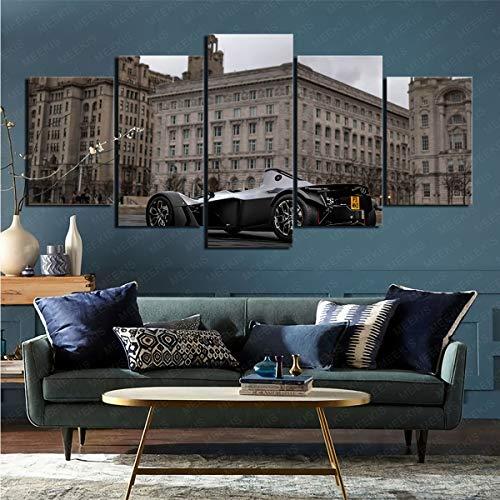 mmkow Dibuja 5 piezas de coche BAC Mono sobre la imagen Cuadro Cuadro Cuadro Aficiones del artista Pintor 80x150cm (Enmarcado)