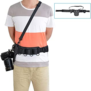 CADeN Universal Camera Waist Belt Waistband Strap Holder Holster System with Removable Metal Buckle Clip for Nikon Canon Sony Pentax DSLR Mirrorless Cameras Lens Tripod Accessories
