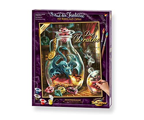 Schipper 609130845 Zahlen, Der Drache-Bilder malen für Erwachsene, inklusive Pinsel und Acrylfarben, 40 x 50 cm, Bunt