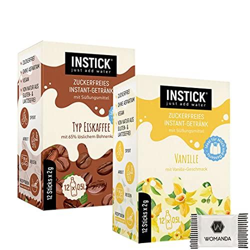 INSTICK | Zuckerfreies Instant-Getränk| 24-er Packung für 24 x 0,50 L + GRATIS Womanda Dextro Energy (Eiskaffe + Vanille)