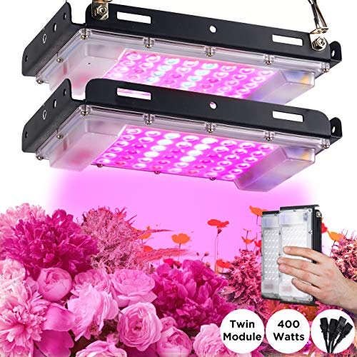ECRU LED Grow Light Twin Panel - 400W Equivalent Growing Lamp (2 Pack x 200W) with White, Blue and Red LED Diodes Light Bulb for Indoor Plant Seedling, Vegetation and Flowering