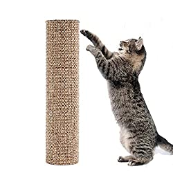 sisal-cat-scratching-post with cat demonstrating use