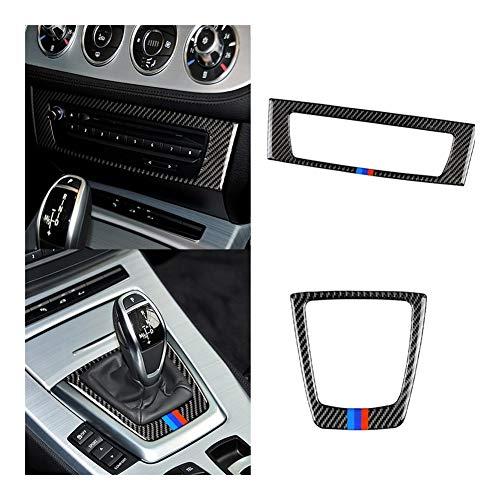 Furong Fibra di Carbonio Accessori Auto del Cambio di Copertura Pannello di Controllo CD Decalcomania della Montatura Trim Sticker Misura for Il BMW Z4 E85 E89 Series 2009-2014