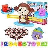 Juegos Matematicos Balanza para Niños, Equilibrar Monos Animal Juguete Montessori con Numer Tarjeta, Number y Matemáticas Aprendizaje Juguetes Educativos para Niños y Niñas de 3 4 5 6 Años (Monos)