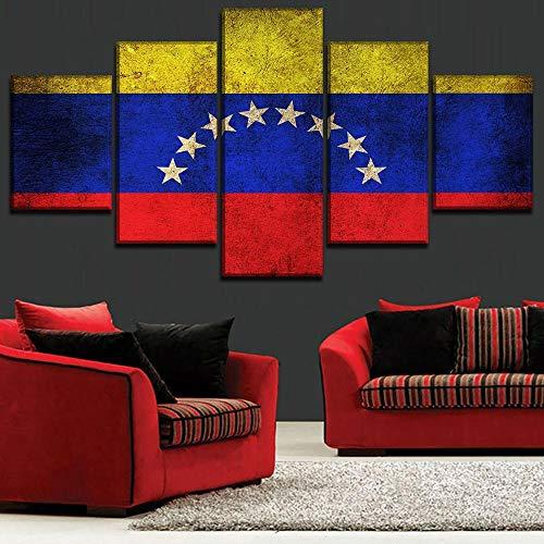 Bilder 5 Teilig Leinwandbilder Bild Auf Leinwand Vlies Wandbild Kunstdruck Wanddeko Wand Wohnzimmer Wanddekoration Deko Geschenk Gemalt - Flagge von Venezuela 150X80CM