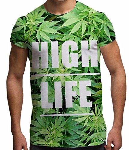 Bang Tidy Clothing Camiseta de Hombre con impresión Completa por sublimación High Life con Hojas de Marihuana para Vacaciones y Festivales
