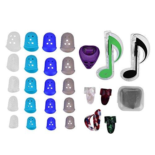 Púa de Guitarra, Guitarra Dedo Protector de la Mano Púa de Dedo y Clip de la Página del Libro de Música con Caja