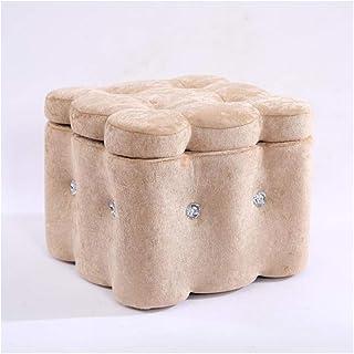 DPPAN Velours Cube Tabouret Pouf Coffre de Rangement Ottoman Repose-Pieds pour Chambre Salon Couloir, 24L, Gain d'Espace,B...