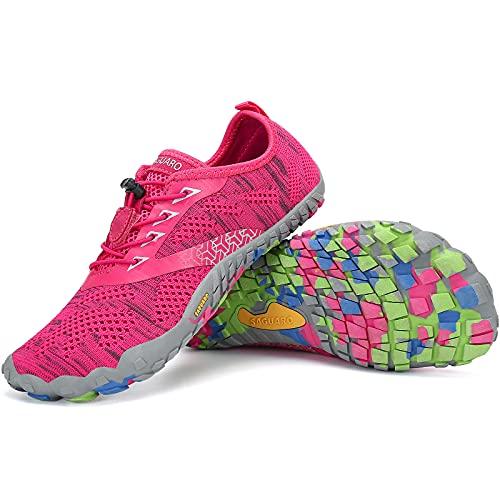 SAGUARO Zapatillas Minimalistas Hombre Mujer Zapatillas de Trail Respirables Zapatillas de Barefoot Ligera Escarpines de Agua Zapatos Running Stil: C Roserojo Gr.40