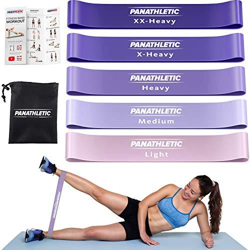 Panathletic Fitnessbänder, 5er Set – 5 Verschiedene Stärken, Übungsanleitung, eBook auf Deutsch, Tragebeutel – 5X Fitnessband, Theraband, Gymnastikband, Terrabänder, Widerstandsband, Fitness Band