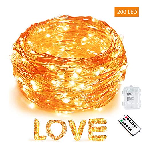 Bebrant 66Ft 200 LEDs Fairy Lights Battery Operated String Lights Outdoor Waterproof 8 Modes Dimmable Remote Control Decor Lights Copper Wire Firefly Lights for Bedroom Party Wedding
