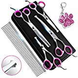6CR Stainless Steel Dog Grooming Scissors Kit with Safety Round Tip, Heavy Duty Titanium Pet Grooming Trimmer Kit -...
