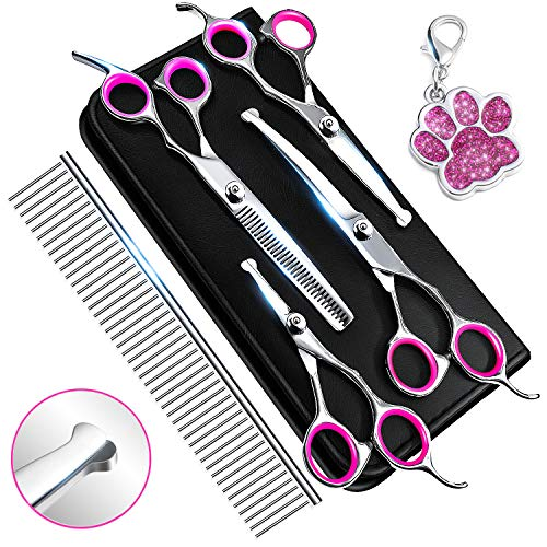6CR Stainless Steel Dog Grooming Scissors Kit with Safety Round Tip, Heavy Duty Titanium Pet Grooming Trimmer Kit - Thinning, Straight, Curved Shears and Comb for Long Short Hair for Cat Pet