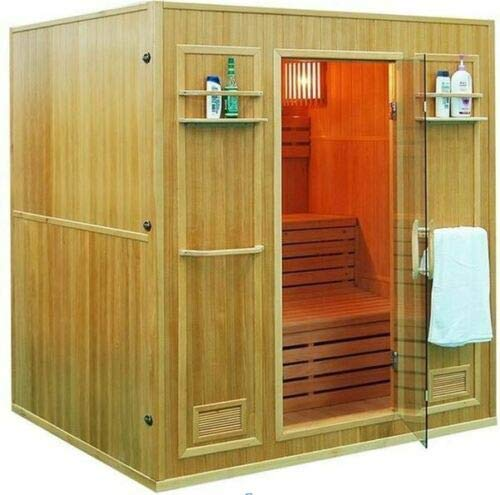 "Canadian Hemlock Wood Swedish Traditional 69"" 4 or 5 Person Indoor Double Twin Bench Sauna Spa, Includes 8KW Wet or Dry Heater, Sauna Rocks, 2 Shelves and Towel Racks"