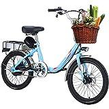 LJ Adult Women's Electric Bike, 20-Inch 7-Speed Variable...