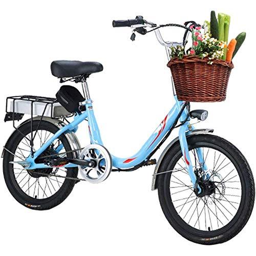LJ Adult Women's Electric Bike, 20-Inch 7-Speed Variable Speed Electric Bike, 48V 8 / 10Ah Battery, Bike with Dual Rear Seat Disc Brakes,Orange,10Ah,8AH